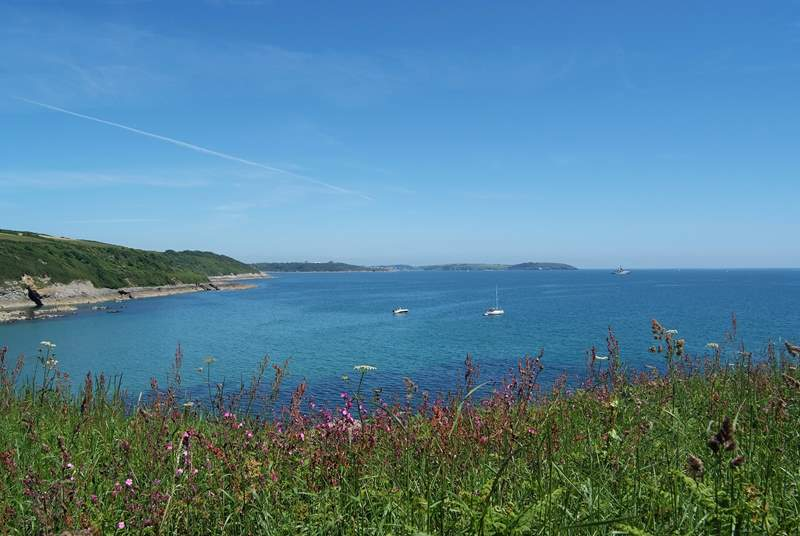 Looking across Falmouth Bay from the cliffs at Maenporth.