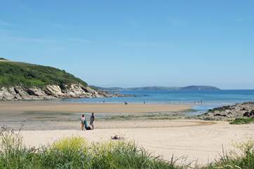 The sandy beach at Maenporth is unexpectedly quiet in term time.