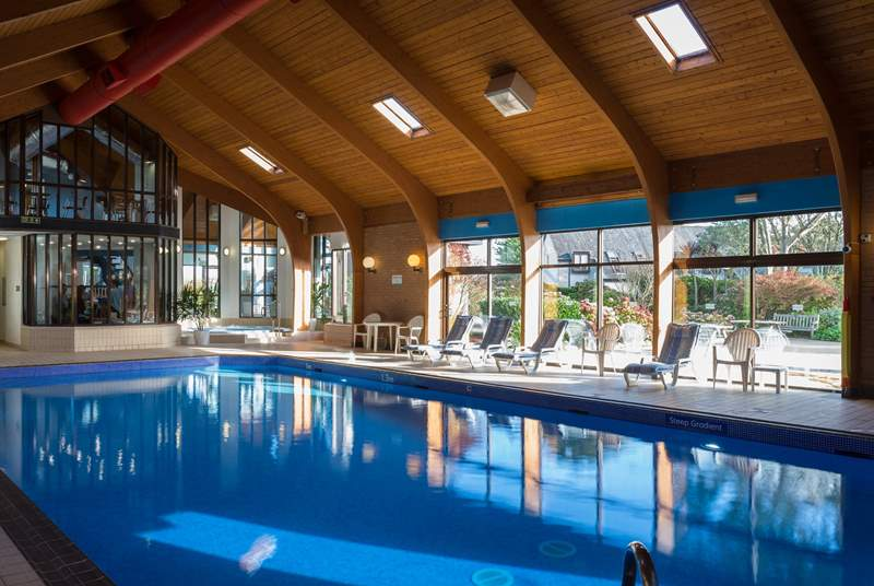 The lovely heated indoor swimming pool.