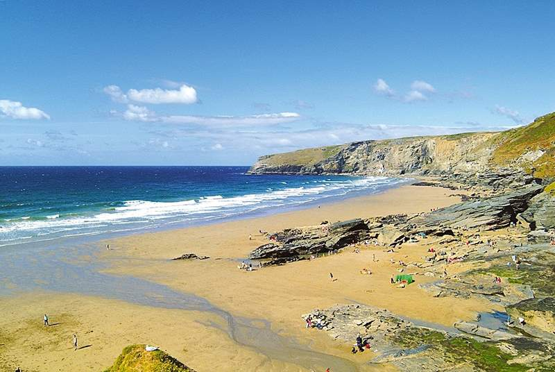 The fabulous beach at nearby Trebarwith Strand.