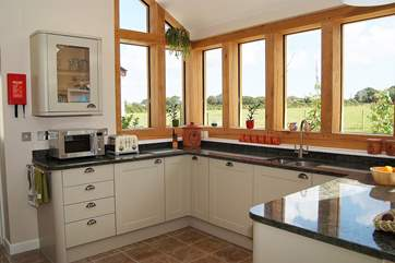 Washing up with a view through the lovely large oak windows.