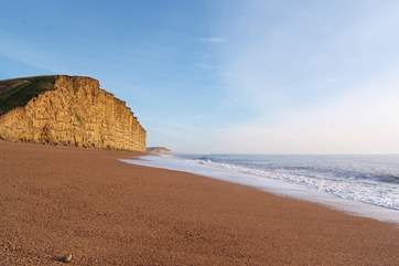 The nearest beach to The Manor Lodge is this stunning section of the Jurassic Coast - West Bay at Bridport.