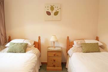 The twin bedroom has full size 3' single beds.
