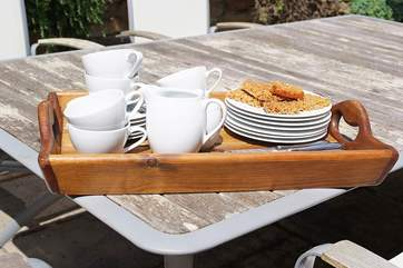 Enjoy a cup of tea and some cake al fresco.