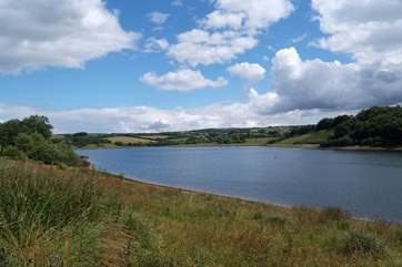This is Wimbleball Lake on Exmoor - a great place for lakeside walks and water sports.