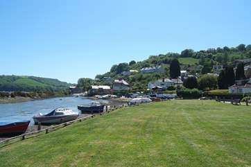 The waterside playing field in Golant, perfect for games or sitting and watching the boats.