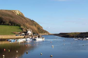 Seaton has a pretty harbour as well as the long pebbled beach.