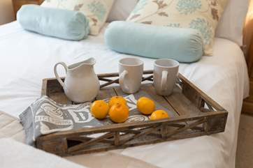 Enjoy your holiday and start the day with breakfast in bed.