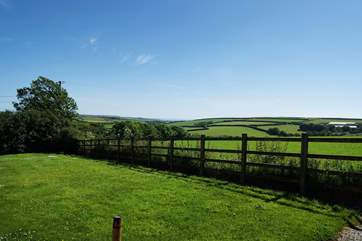 Across the fields to the sea at Gunwalloe.