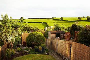 There are lovely country views from the garden.