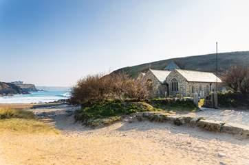 Pretty Church Cove is a one mile walk away.