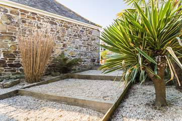 The steps down to the private garden for Pebble Cottage.