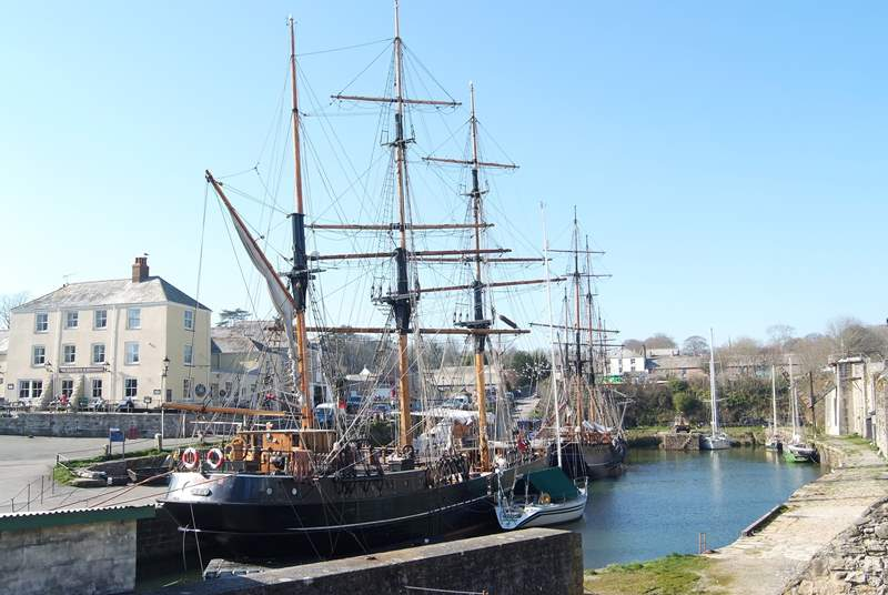 The historic port of Charlestown just outside St Austell, where magnificent tall ships are moored in its tiny harbour.