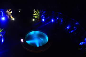 The hot tub at night.