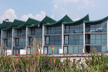 This is the sea-facing view of the apartments. Sundowner is on the ground floor.