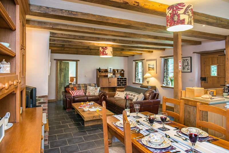 The open plan living-room is very warm and welcoming.