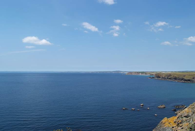 The view of the magnificent coastline towards Porthleven and Mount's Bay from just outside the Mullion Cove Hotel.