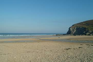 Porthtowan, just a few minutes' drive from the cottage, is great for surfers as well as families.