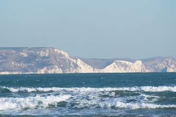 The stunning World heritage Jurassic coastline from Weymouth's seafront.