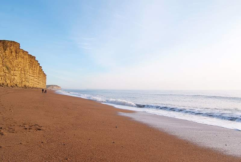 The dramatic cliffs and beach at West Bay, filming location for Broadchurch.