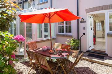 The courtyard is a suntrap and the perfect spot for afternoon tea.