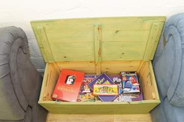 A box full of family games to play.