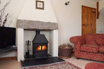 The wood-burner is perfect for cosy out-of-season breaks.