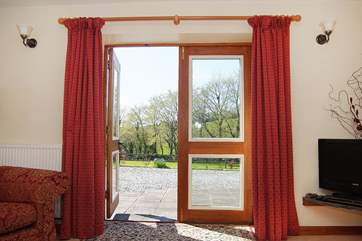 French doors out to the patio and garden.
