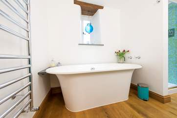 A double-ended bath in the family bathroom for deep relaxing soaks after days spent exploring this lovely part of Cornwall.