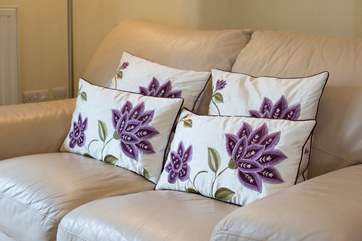 Gorgeous silk cushions and other soft furnishings.