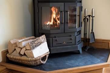 This little wood-burner keeps you snug in cooler times.