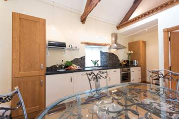 The kitchen area is compact but fully equipped.