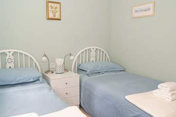 Bedroom 2 has 3' twin beds.