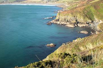 Looking towards Carne and Pendower beaches from Nare Head.