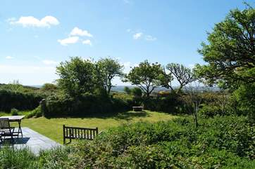 The garden is very private and overlooks the surrounding countryside.