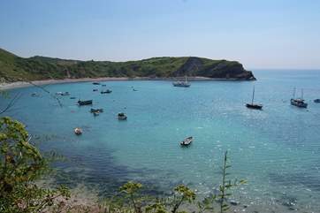 The lovely natural harbour at Lulworth Cove.