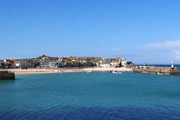 The beautiful bay at St Ives is just down the road.