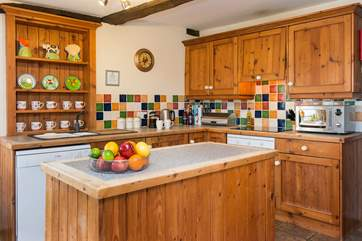 The country-style kitchen.