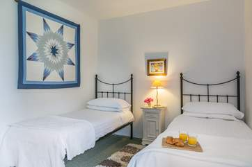 Breakfast in bed?- Yes please! The first floor twin bedroom.