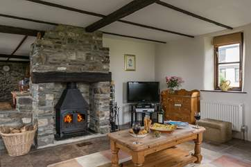 The cosy wood-burner is a welcome sight at any time of the day.