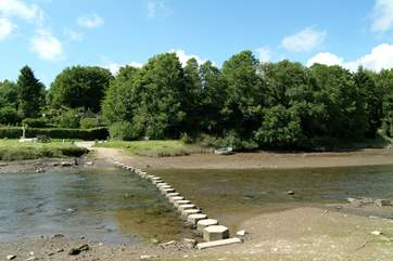 The stepping stones across the shallow river Fowey.