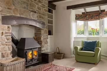 A warming wood-burner for cooler days.