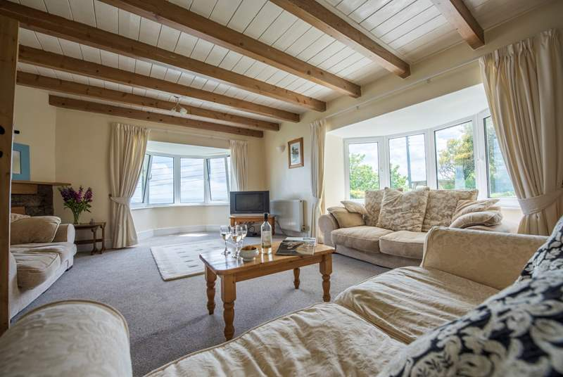 The huge sitting-room has gorgeous sea views.