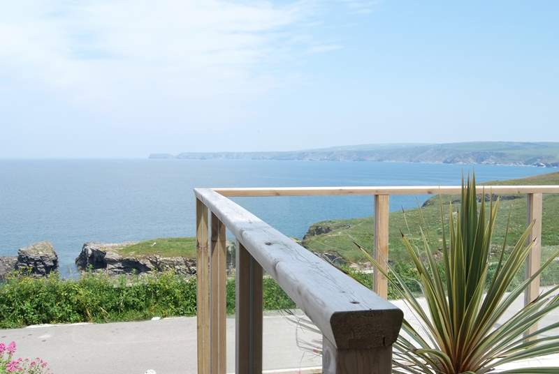 The view from the decked-area to the front of Stroma is stunning.