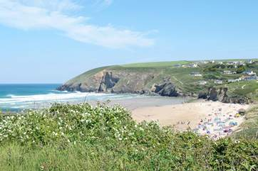 The beach at Mawgan Porth.