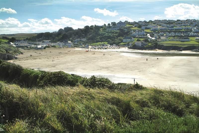 Polzeath beach is a great sandy beach at low tide.