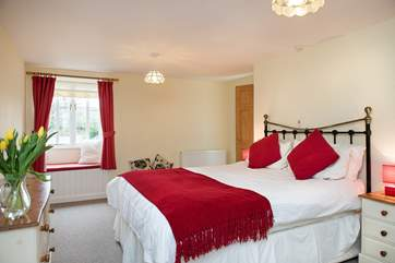 Pretty bedroom One on the ground floor has a 5' double bed
