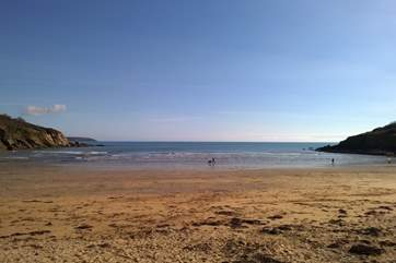 Maenporth beach in early spring sunshine.