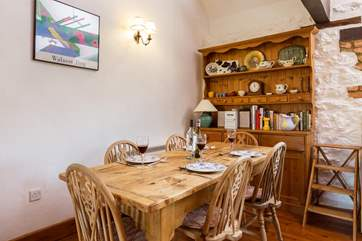 A welcoming farmhouse kitchen-table and dresser give friendly character to this barn conversion.