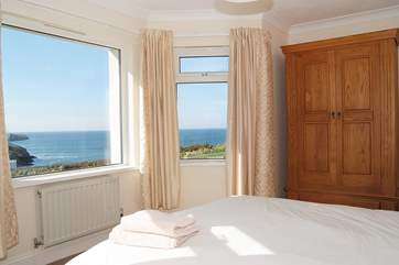 The lower ground floor bedroom also boasts spectacular sea views.